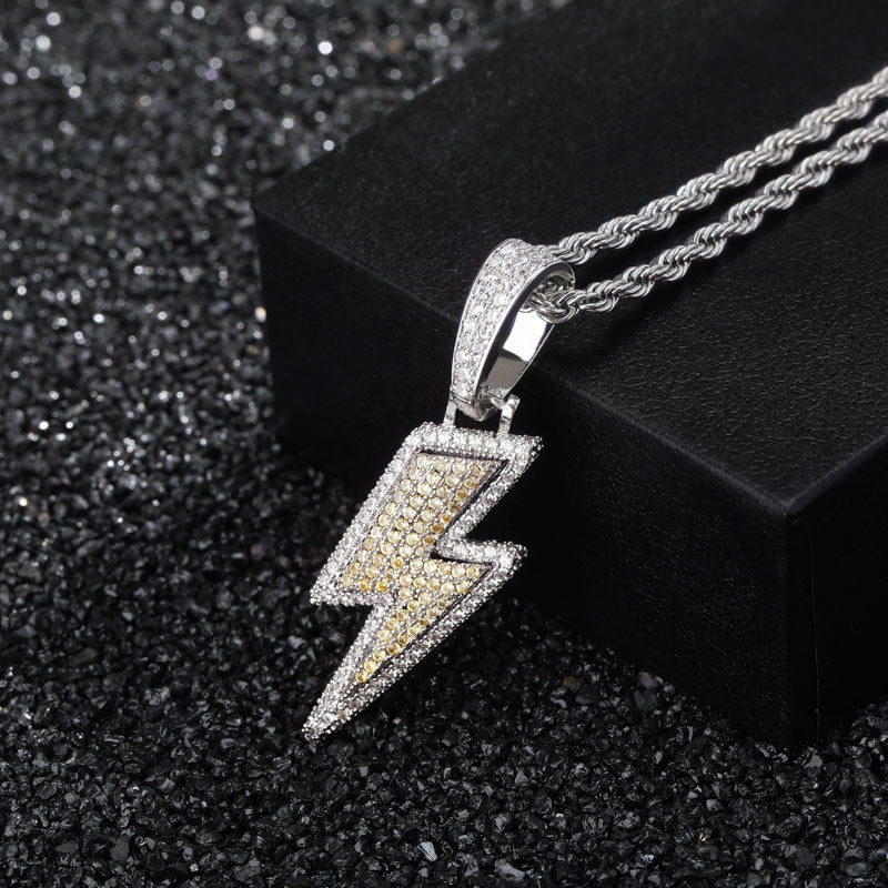 ian connor thunderbolt emoji pendant necklace chain diamond custom vvs benballer vlone