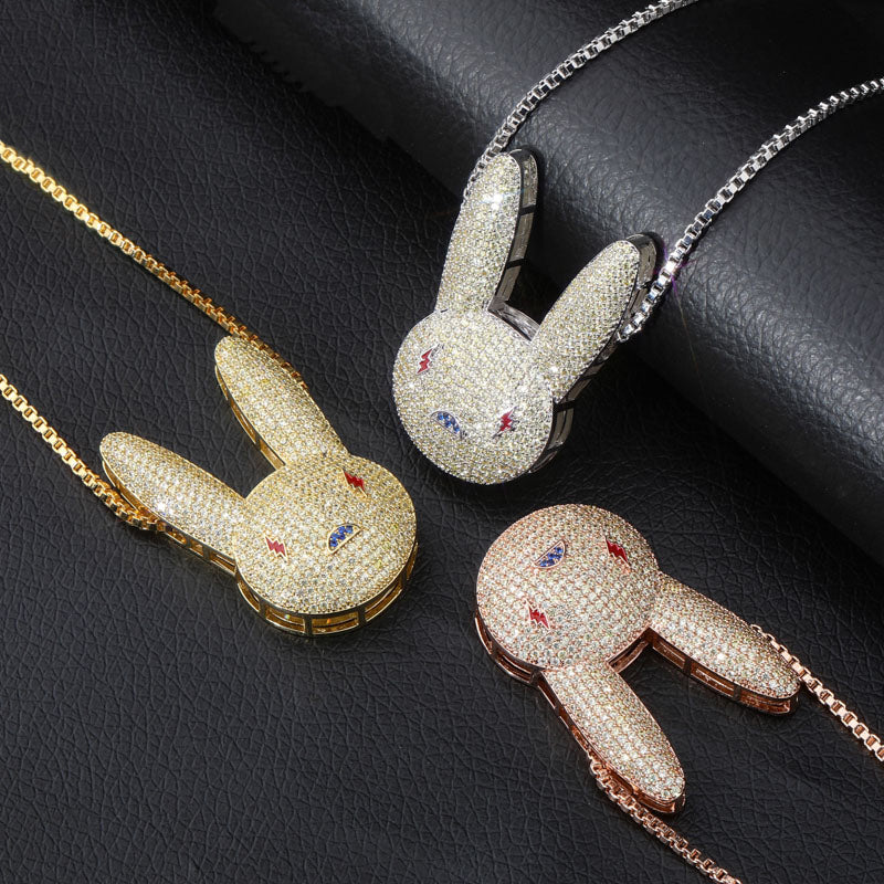 Custom bad bunny pendant & necklace free chain jbalvin drake music video diamond