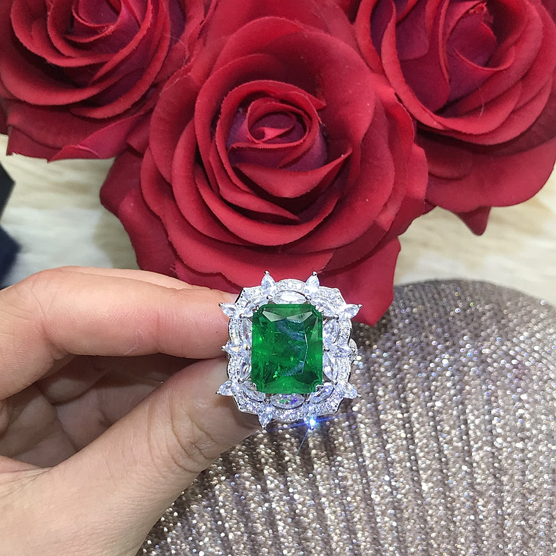 asap rocky vlone green Emerald Cut Ring engagement rare vvs jeweler diamond tyler the creator