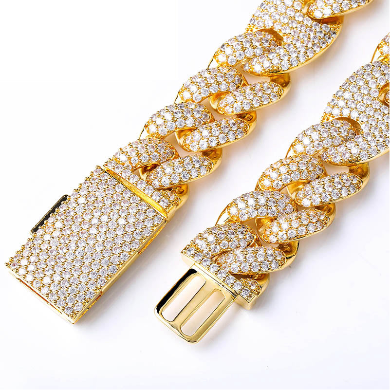 20mm gucci link cuban link combo necklace chain custom clasp diamond shopgld gold