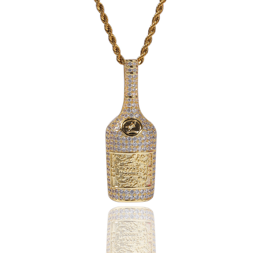 Hennessy dripped bottle pendant necklace chain saweetie my type juice world diamond gold