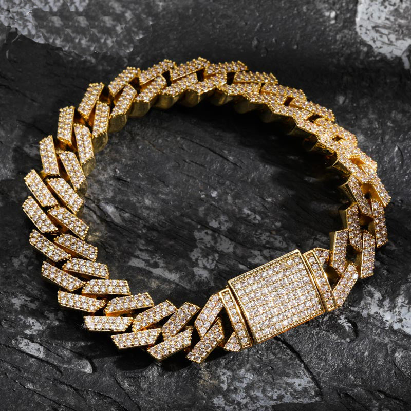 curb cuban link 14mm necklace bracelet chain fully iced custom clasp diamond ifandco