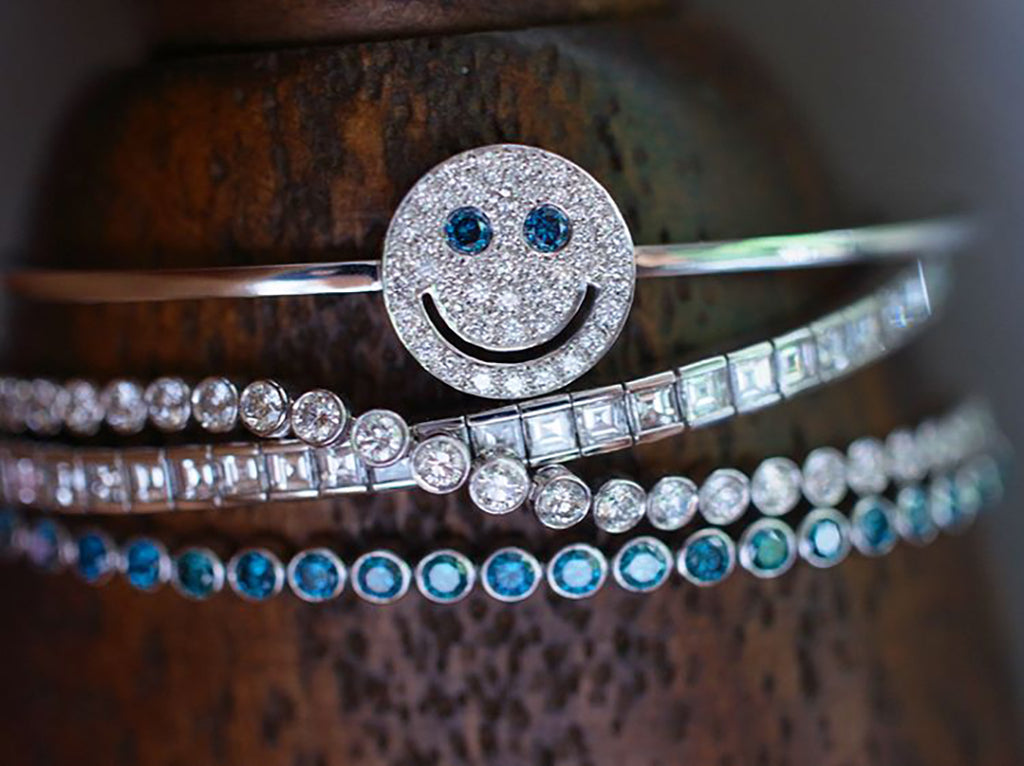 EYEFUNNY smiling face bangle bracelet smiley diamond vvs アイファニー POGGY KIM JONES VIRGIL JBALVIN