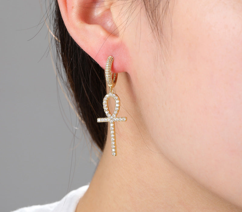 Dangling ankh hoop earrings fully iced diamond ifandco shopgld