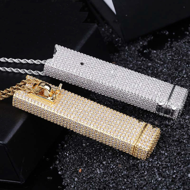 JUUL Vape E-Cig fully iced case Pendant Holder Cover Case diamond shopgld