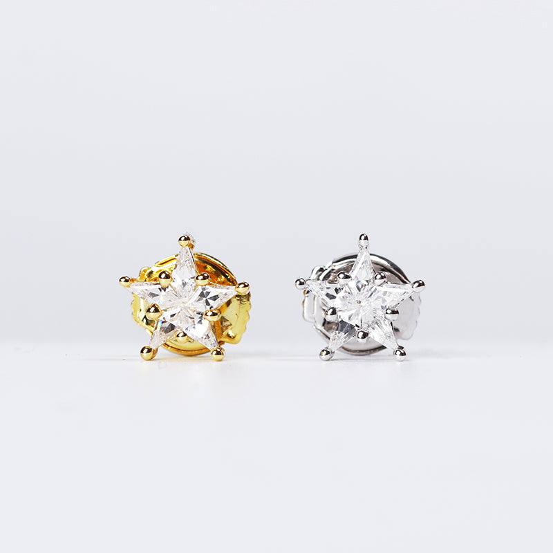 eyefunny star diamond stud earring white gold yellow gold jbalvin nigo