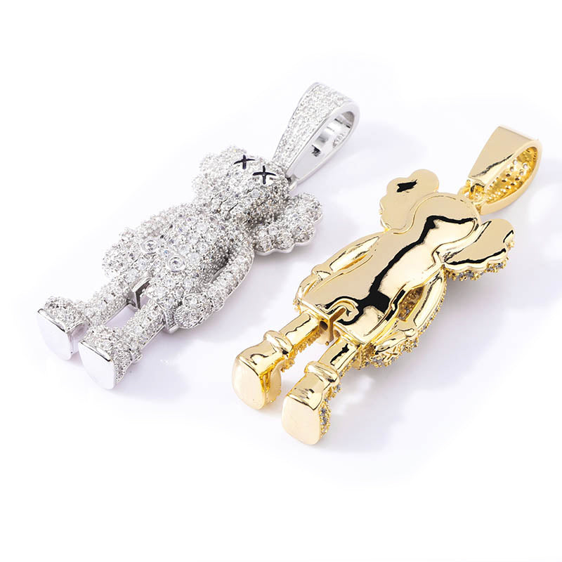 bape kaws originalfake 3D figure pendant necklace chain diamond ben baller vvs gold