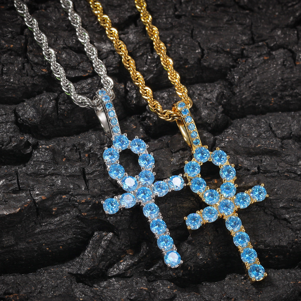 blue topaz Ankh pendant necklace chain diamond tyler the creator asap rocky playboi carti ben baller