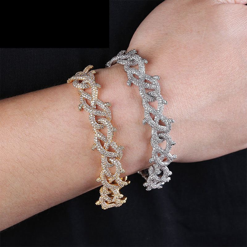 15mm Iced Barbed wire link bracelet chain shopgld gold diamond