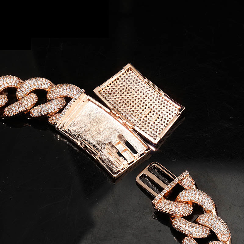 20mm cuban link necklace bracelet fully iced micro pave diamond travis scott playboi carti asap rocky ian connor vlone vvs