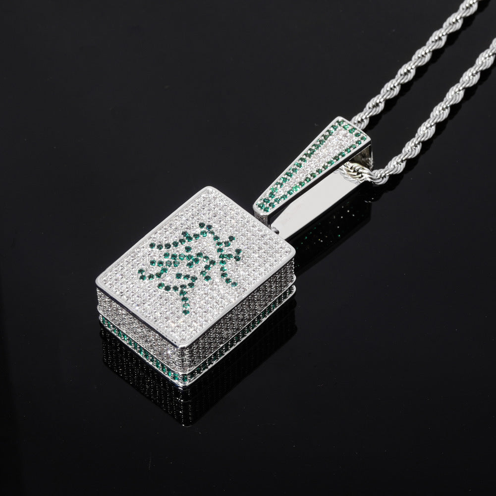 Custom Mahjong pendant Wealth and Rich necklace free chain 88rising rich chigga brian