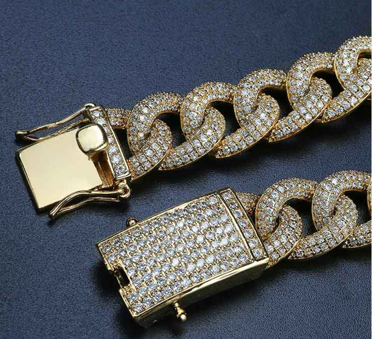 15mm cuban link fully iced micro pave diamond travis scott playboi carti asap rocky ian connor vlone vvs