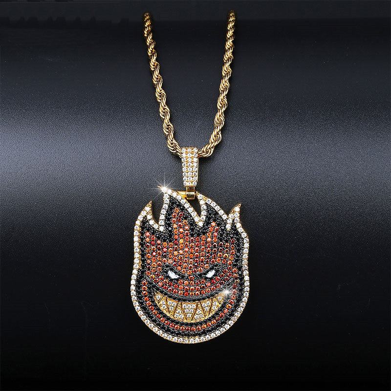 La flame reversed travis scott pendant necklace chain new jewelry kylie jenner astroworld