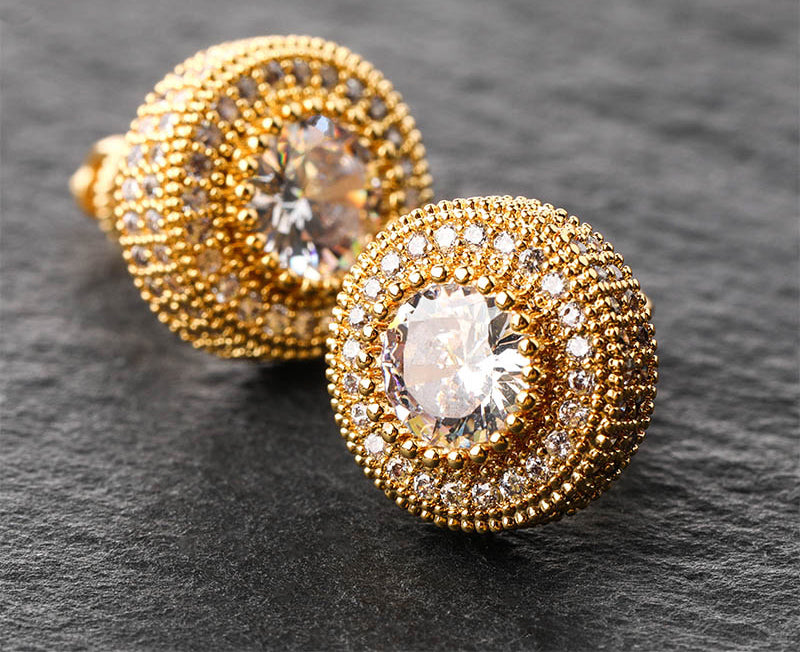 12mm stud earrings diamond earring iced halo solitaire k gold shopgld