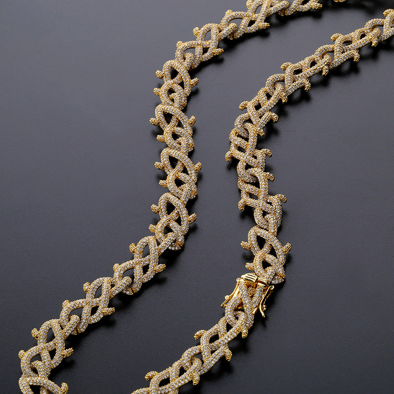 18mm Iced Barbed wire link necklace chain shopgld gold diamond