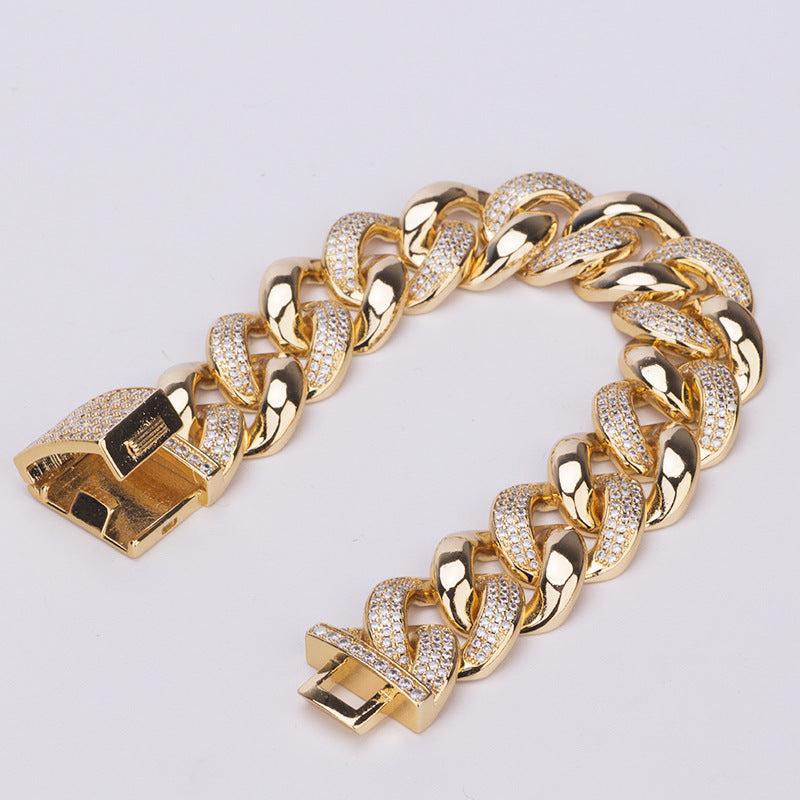 19MM Miami cuban link chain bracelet as seen on LIL UZI VERT special clasp gold vvs diamond