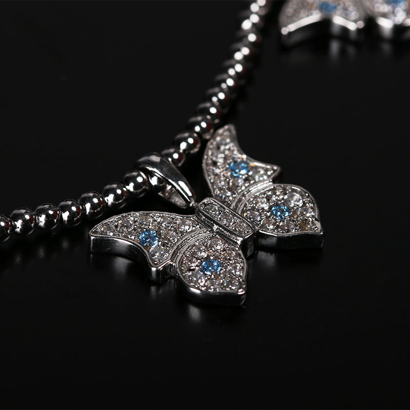 Farfetch Eyefunny diamond butterfly pendant choker necklace