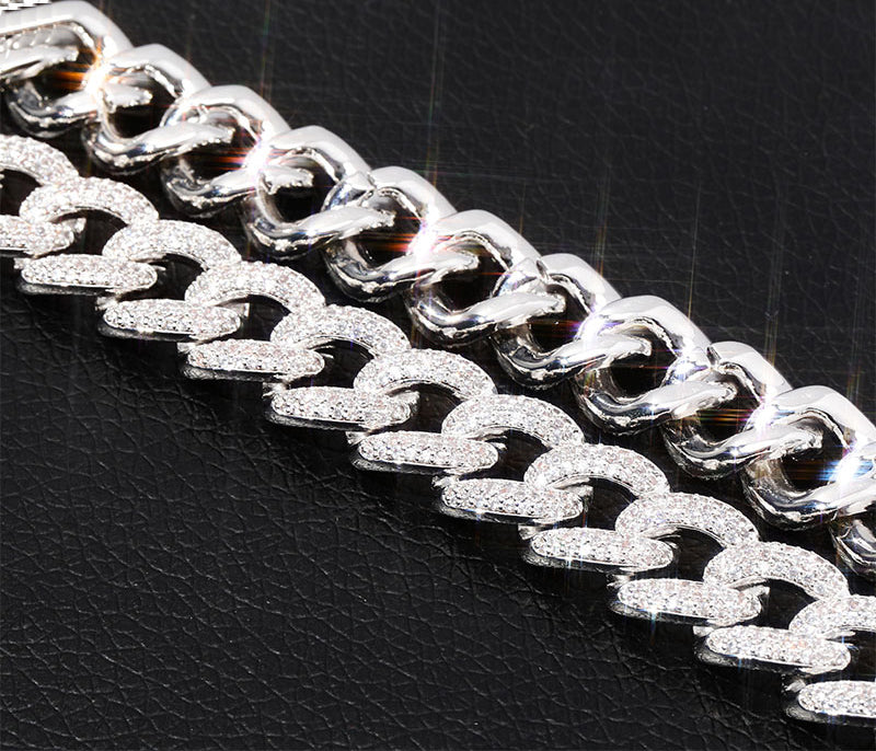 14mm cuban link fully iced micro pave diamond travis scott playboi carti asap rocky ian connor vlone vvs