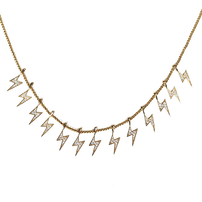 Farfetch Eyefunny diamond thunderbolt thunder pendant choker necklace nigo poppy kim jones