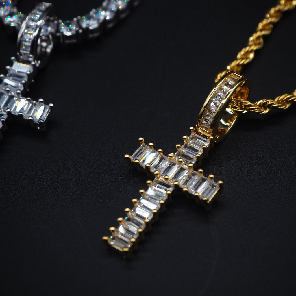 Baguette cross pendant & necklace with free matching chain hiphop