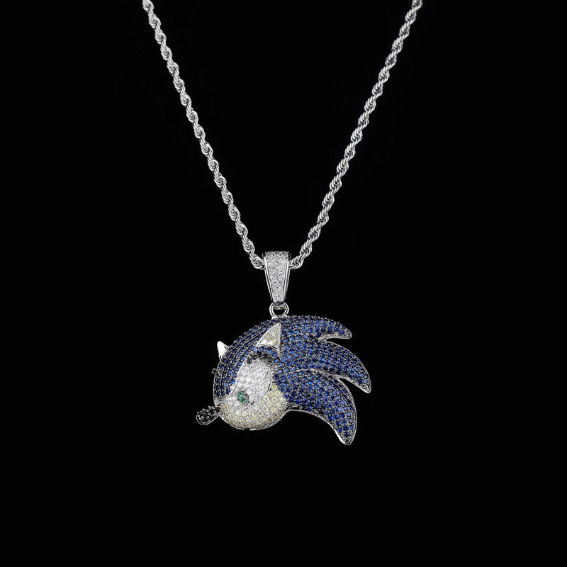 Sonic the Hedgehog Fully Iced Pendant Diamond free necklace chain
