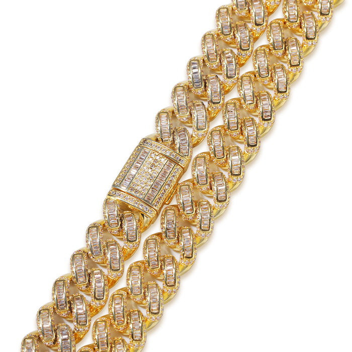 13mm baguette link necklace/bracelet chain custom clasp gold diamond hiphop jewelry