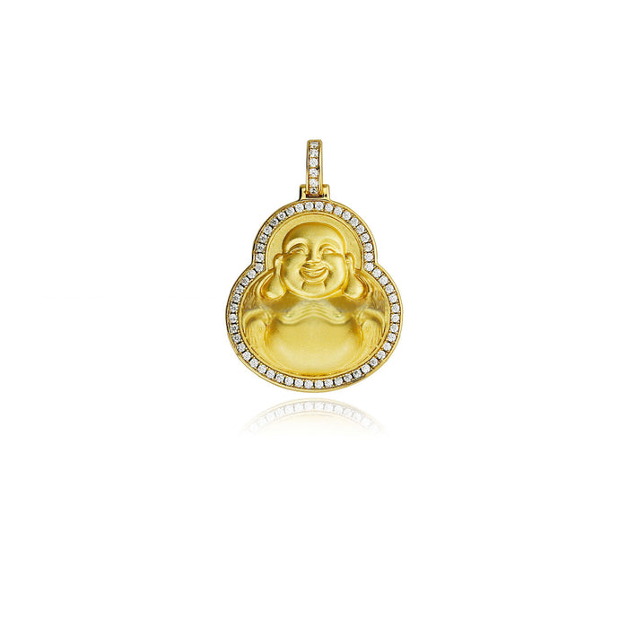 Nano laughing buddha necklace in gold and diamond
