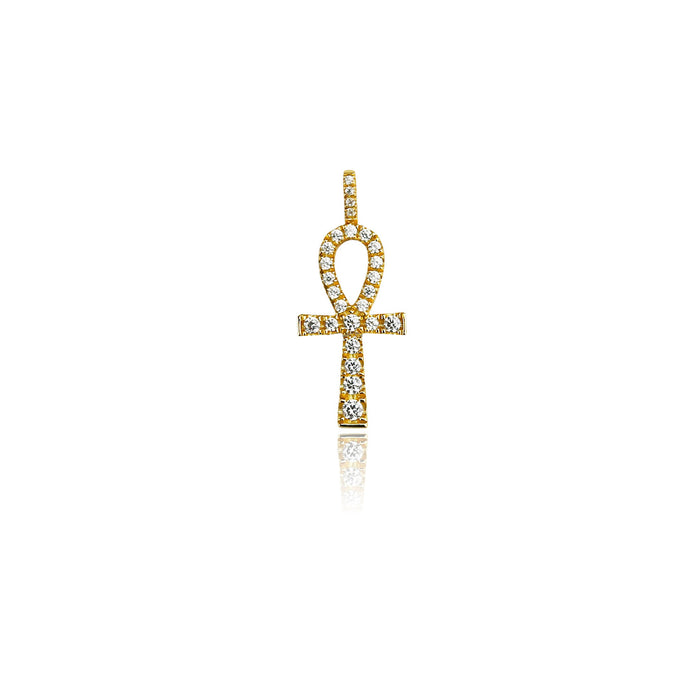 micro ankh pendant necklace chain gold