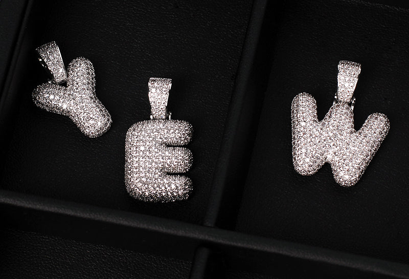 Custom Bubble Letters Initial White Gold Finish A-Z Alphabet Full Iced Out 14k