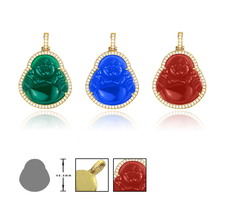 Micro Laughing Buddha pendant with iced border red jade