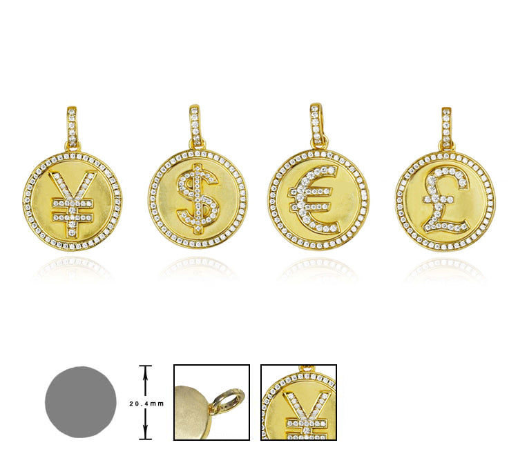 micro bitcoin currency sign ifadnco CNY yuan pendant necklace affordable jewerly