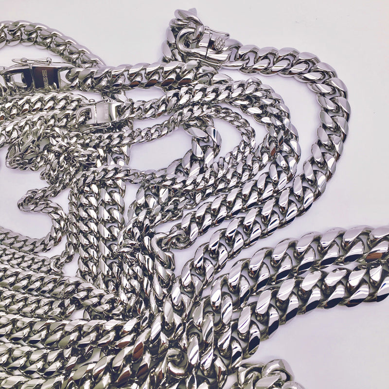 Plain Cuban link chain - White Gold