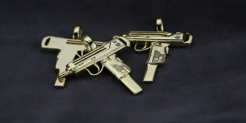micro uzi necklace pendant and chain