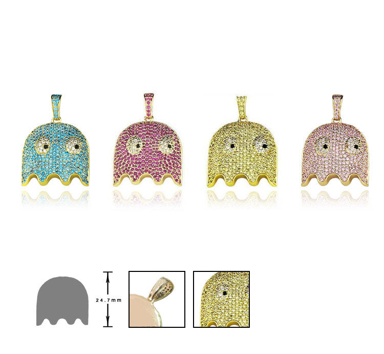ghost pacman pendant necklace ifandco affordable hip hop jewelry