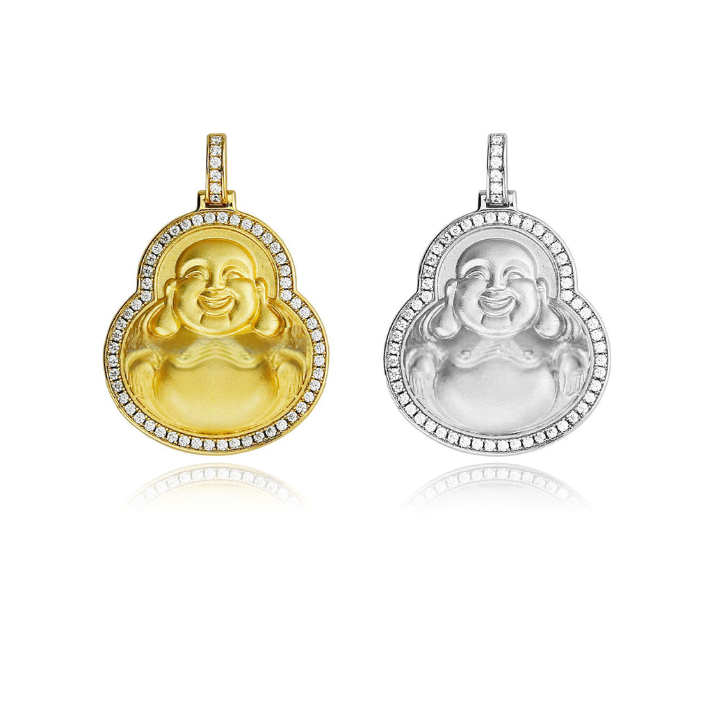 Micro laughing buddha pendant with iced border matte gold micro laughing buddha pendant diamond aloadofball Image collections