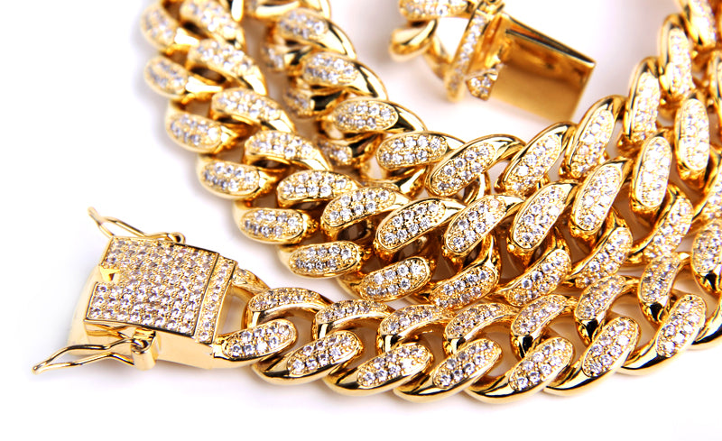 Cuban link chain 13mm fully iced with custom clasp ifandco icebox
