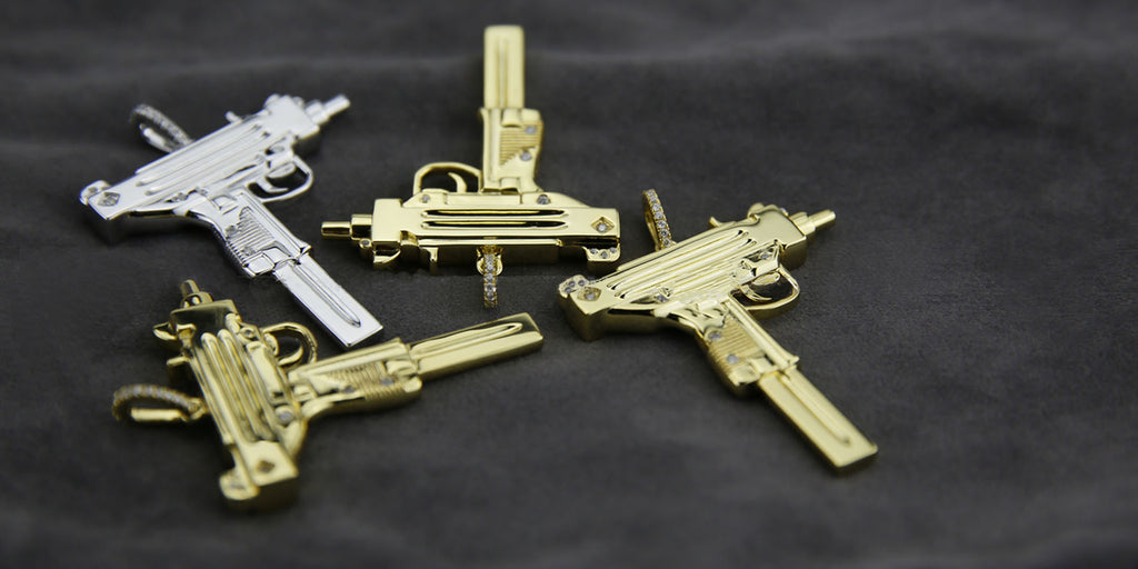 uzi gun necklace gold