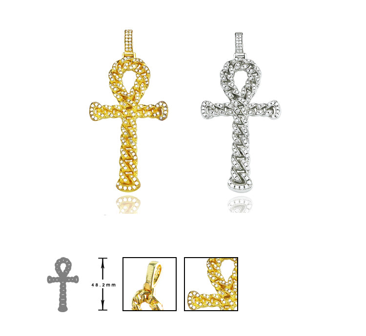 ankh interlaced chain pendant affordable hip hop jewelry