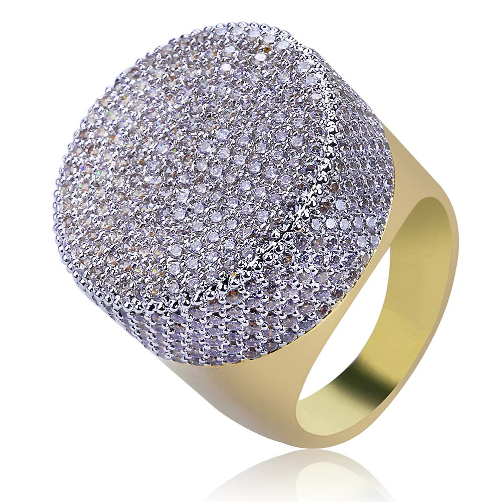 iced out ring diamond micro pave vvs yellow gold affordable hip hop jewelry