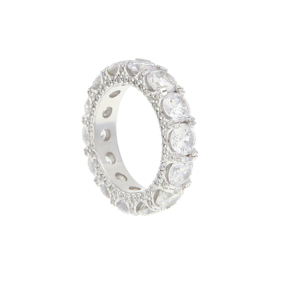 Round stone fully iced out ring diamond eternity affordable high end ring jewelry