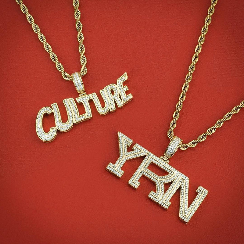 Migo yung rich nation culture YRN pendant necklace chain vvs diamond offset quavo takeoff ifandco custom jewelry