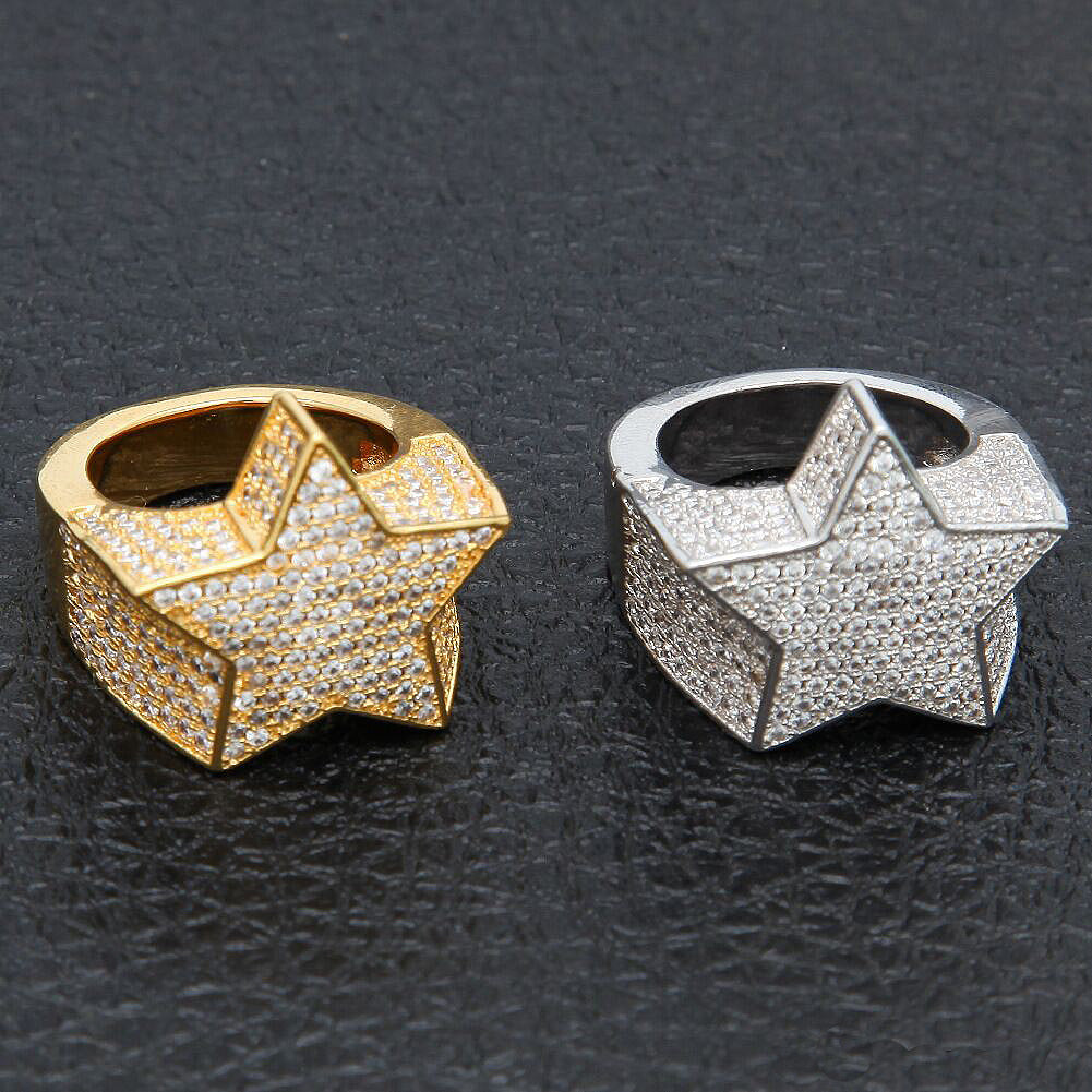 Migos star ring fully iced out 3D White gold SILVER men ring affordable jewelry