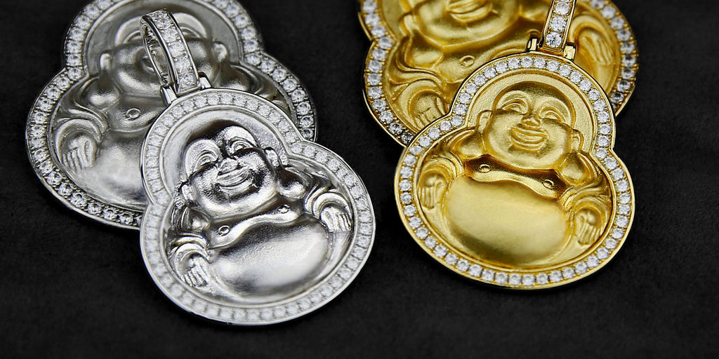 Micro Laughing Buddha diamond border necklace