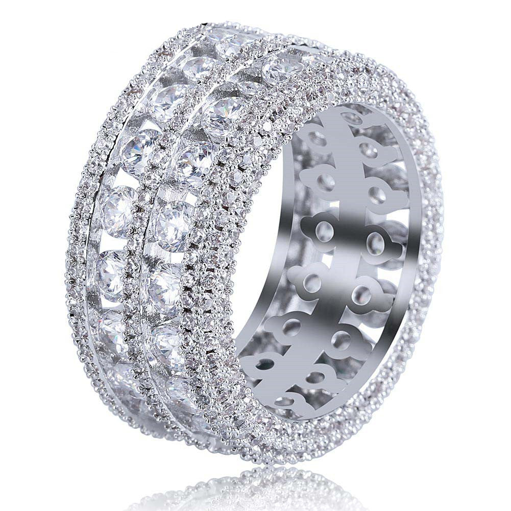 Round stone Majestic Ring fully iced out ring diamond eternity affordable high end ring jewelry