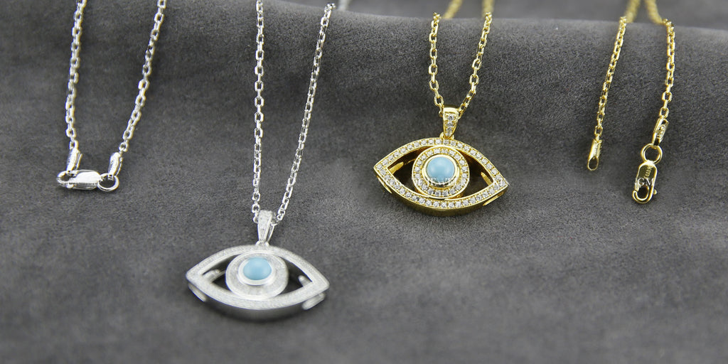 Evil eye pendant necklace chain