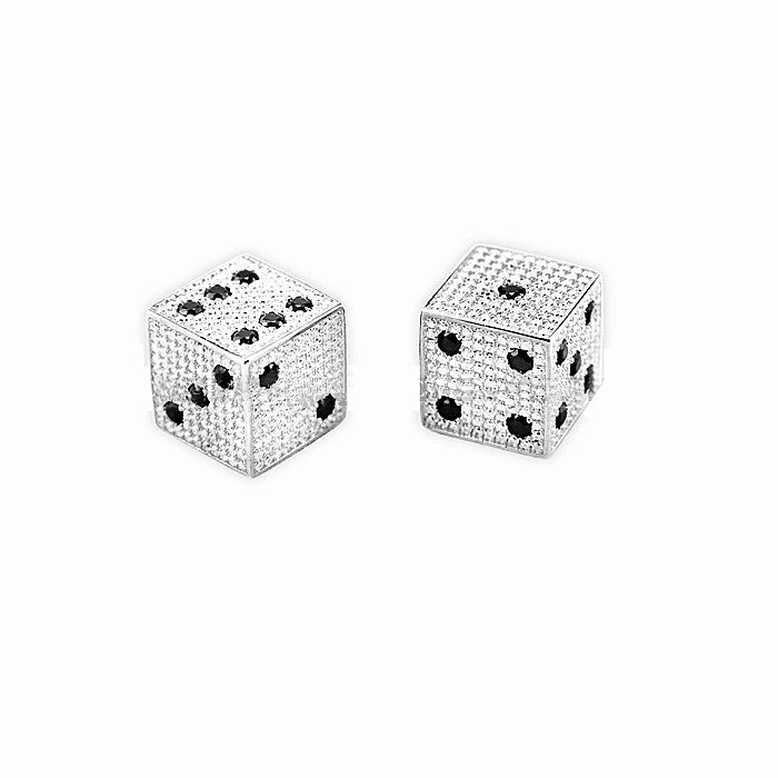 Silver Diamond Dice in White