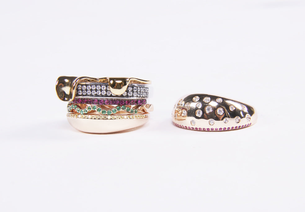 hamburger rings as seen on Nigo in multicolored vvs diamond ifandco