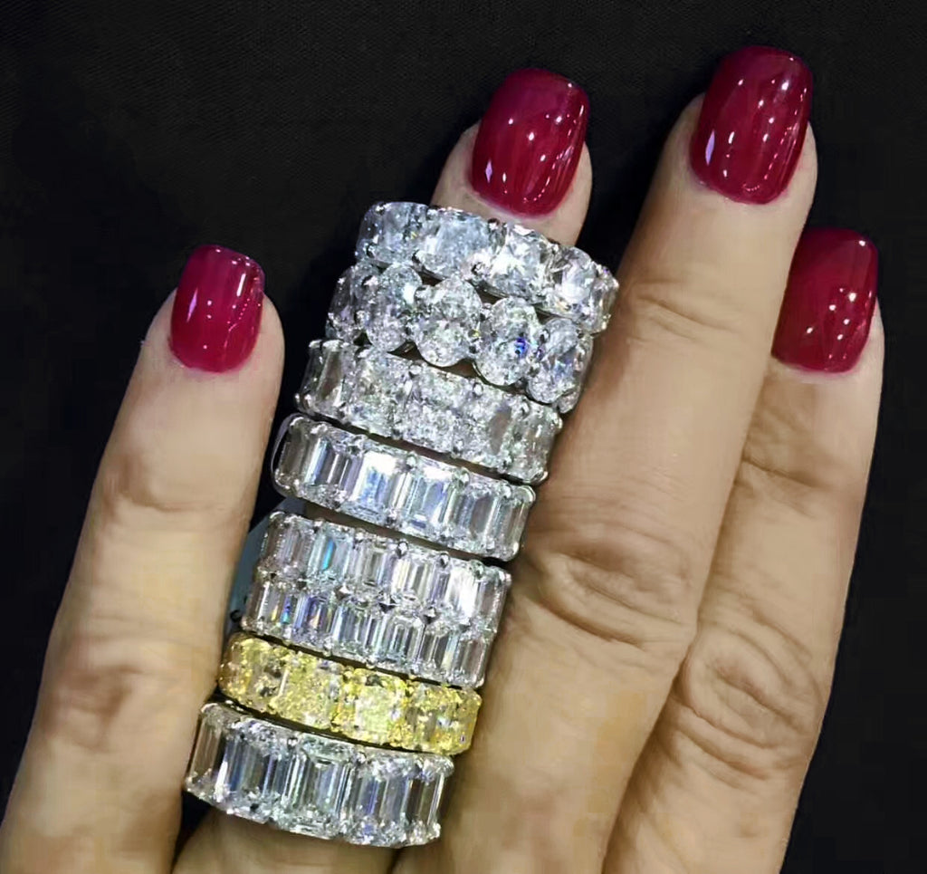 Emerald Cut vvs diamond Eternity Ring custom made ifandco