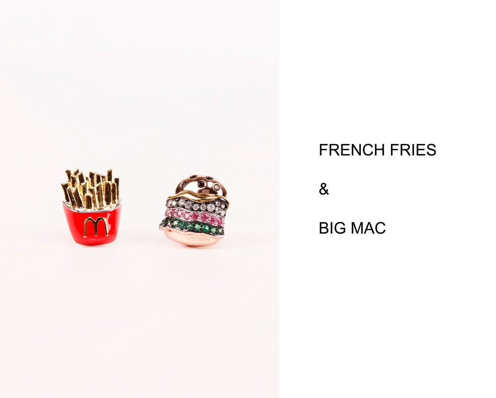 nadine ghosn burger fries stud earring nigo bape diamond luxury hypebeast
