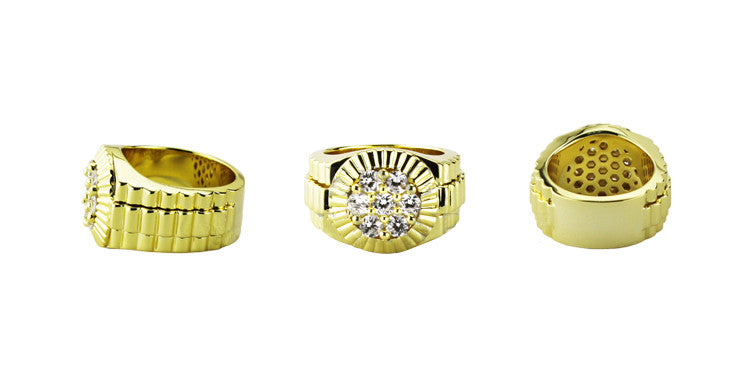 Gold Presidential Ring with 7 round diamonds
